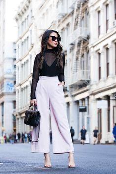 New York :: Wide-leg trousers & Sheer top Wendy's Lookbook waysify
