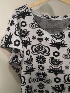 "Giant t-shirt, material cotton (jacquard jersey), ""Folk"" designed by Sari Ahokainen, seller www.majapuu.fi"
