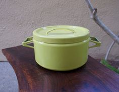 Vintage Lime Yellow Seppo Mallat Dutch Oven Kobenstyle handles Finel Arabia Finland 1950s enamelware