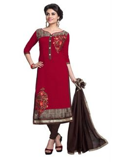 Eid Specialel Red CHANDERI COTTON Churidar Suit - 1114