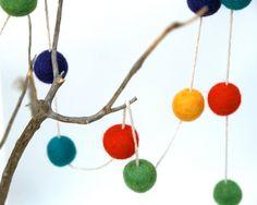 Holiday Garland Felt Colorful Rainbow Decoration needle felted bright alice in wonderland heirloom Festive. $35.00, via Etsy.