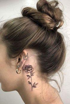 Unique tattoos, small tattoos, beautiful tattoos, new tattoos, rose tattoos Mini Tattoos, Trendy Tattoos, Unique Tattoos, Cute Tattoos, Flower Tattoos, Body Art Tattoos, Tatoos, Star Tattoos, Flower Neck Tattoo