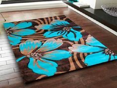 Aqua Area Rug | Aqua Brown Area Rugs