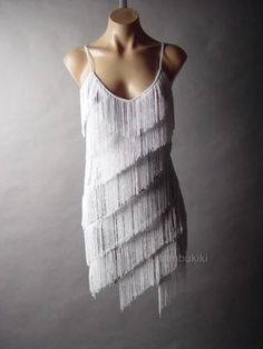White Tiered Fringe Silver Sequined 20s Flapper Dance Party Cocktail 42 mv Dress #Other #SlipDress #Cocktail
