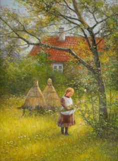 """Painter Johan Severin Nilson (1846-1918): """"Lillan i trädgården""""; motive from Skåne. Johan Severin Nilsson was a Swedish painter and photographer. He was born in Halland in the south of Sweden. He studied at the Royal Swedish Academy of Arts in Stockholm 1865–1871 and then under Léon Bonnat in Paris for three years. Wikipedia Born: 1846 Died: 1918"""