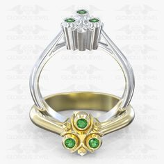 Glorious Custom made Zelda Ocarina Triforce Hyrule Warrior Zora inspired ring with Natural Ruby stones / or Gold