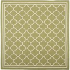 @Overstock.com - This outdoor rug has a brown background and displays stunning panel color of natural. This power-loomed rug is resistant to mold, mildew, sun, water and other elements.http://www.overstock.com/Home-Garden/Poolside-Green-Beige-Indoor-Outdoor-Rug-67-Square/6562462/product.html?CID=214117 $109.99