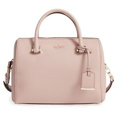 Women's Kate Spade New York Cameron Street Large Lane Leather Satchel (£220) ❤ liked on Polyvore featuring bags, handbags, toasted wheat, leather handbags, pink handbags, pink satchel handbags, genuine leather handbags and kate spade purses