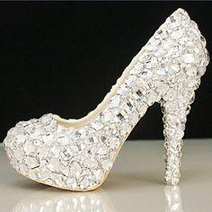 2015 Handmade Womens Silver Rhinestone High Stilettos Heels Spring Wedding Prom Dress Party Occasions Pumps Shoes