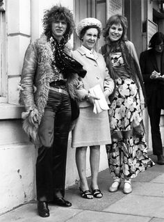 David and Angie Bowie on their wedding day at Bromley Register Office with David's mother Margaret Jones, 20 March 1970