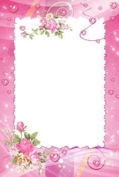 Frame Floral, Flower Frame Png, Rose Frame, Pink Roses, Pink Flowers, Boarders And Frames, Photo Frame Design, Framed Wallpaper, Birthday Frames
