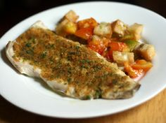 Dinner Tonight: Baked Fish with Savory Bread Crumbs | Serious Eats : Recipes Very good, but broil if the fish does not have skin or is very thin.