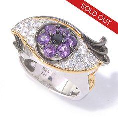 129-836 - Gems en Vogue 1.49ctw Amethyst, White Zircon & Black Spinel Eye Ring