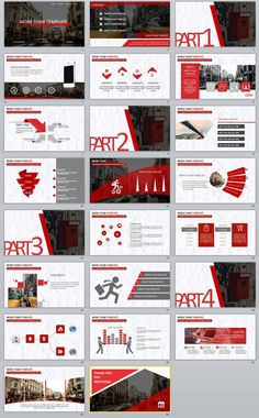 templates Video Features: Redcolor report PowerPoint templates Easy and fully editable in PowerPoint (shape color, size, position, etc) Easy customizable contents Powerpoint Slide Designs, Powerpoint Design Templates, Professional Powerpoint Templates, Book Presentation, Presentation Design Template, Booklet Design, Page Layout Design, Web Design, Design Art