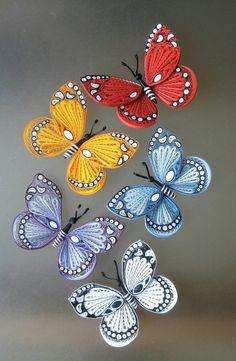 Paper butterflies, Paper art decoration, A - Quilling Ideas Neli Quilling, Quilling Images, Quilling Butterfly, Paper Quilling Flowers, Paper Quilling Tutorial, Paper Quilling Jewelry, Paper Quilling Patterns, Quilled Paper Art, Quilling Paper Craft