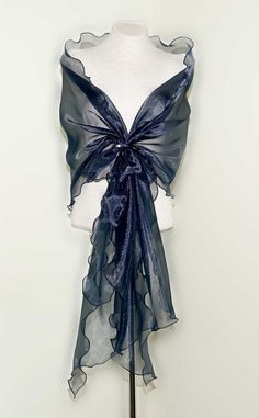 Evening design elegant shawl,gloss navy blue color. Made to order. by lolablooming on Etsy