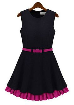 Black Patchwork Ruffle Dress