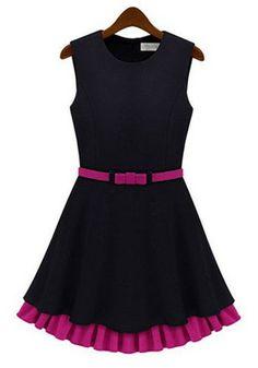 Black Patchwork Ruffle Dress