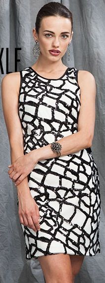 Suzi Chin ivory and black sequin party dress!