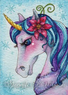 Original ACEO watercolor painting Winter Magic by JLNilsson, $20.00