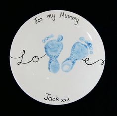 Small Coupe Plate (20.5cm). This design is very popular for Mother's Day. (Baby keepsake, Mother's Day, hand and footprints, Cheeky Little Prints).