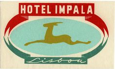 Hotel Impala Vintage luggage labels - I think I know where Chevrolet got their Impala symbol.