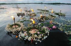 Івана Купала..Girls would float wreaths of flowers often lit with candles on rivers and would attempt to gain foresight into their relationship fortunes from the flow patterns of the flowers on the river. Men may attempt to capture the wreaths, in the hope of capturing the interest of the woman who floated the wreath. There is an ancient Kupala belief, that the eve of Ivan Kupala is the only time of the year when ferns bloom.
