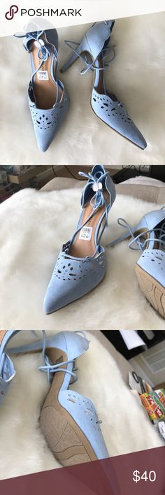 •new• eyelet blue lace up heels New never worn blue heels with cut outs laces up the ankle Christian Siriano Shoes Heels