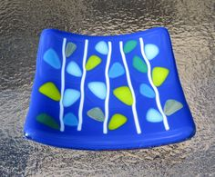 Fused Glass Dish, Blooming Branches on Blue