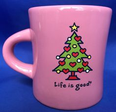 LIFE IS GOOD Mug Christmas Tree Pink Green Tree Red Hearts Do What You Like #LifeIsGoodHome #DinerMugStyle