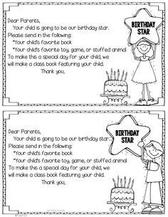 Celebrating Birthdays at School - FREE Birthday Star book. Easy way to celebrate birthdays without food.