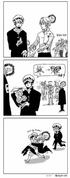 One Piece, Law, Luffy, Sanji, Vinsmoke family || If only it was THAT easy. EDIT: It was just revealed that his sister put on fake ones when their father wasn't looking!! Sanji's not in deep trouble like he thought he was!!
