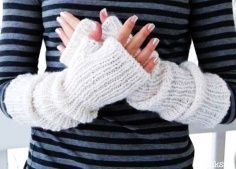 Hand warmers Mittens made of alpaca blend in white pearl color. Long arm warmers. Fingerless gloves. Backt to School. Fall Autumn Fashion