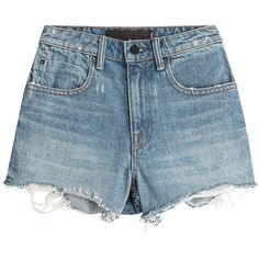 Denim x Alexander Wang Cut-Off Denim Shorts (3,670 MXN) ❤ liked on Polyvore featuring shorts, bottoms, denim shorts, short, blue, ripped jean shorts, denim cut-off shorts, denim jean shorts and destroyed jean shorts