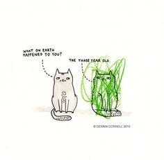the three-year-old happened ;D #cartoons #cats #gemmacorrell
