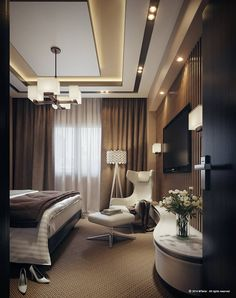 24 Ways to Make a Low Basement Ceiling Ideas Look Higher Modern and Contemporary Ceiling Design for Home Interior 57 Decor The post 24 Ways to Make a Low Basement Ceiling Ideas Look Higher appeared first on DIY Shares. Home Ceiling, Bedroom False Ceiling Design, Bedroom Interior, Luxurious Bedrooms, Modern Bedroom, Home Interior Design, Interior Design, Ceiling Design Modern, Living Design