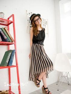 decd23aa96 College Style Fashion Lady Stripes Chiffon DressShop for school at SM City  Manila .  smcitymanila