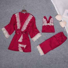 020c2cca96 3 PIECES ELEGANT NIGHTWEAR (3 VARIAN) – ADULT ONLY SUPERSTORE Satin Pyjama  Set