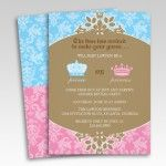 Prince or Princess Damask Gender Reveal Party Invitations
