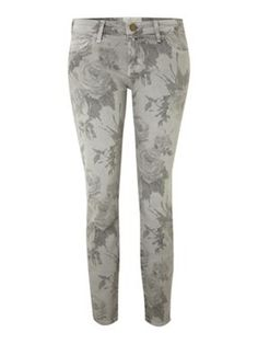 Current Elliott Skinny grey jeans with floral print Light Grey - House of Fraser
