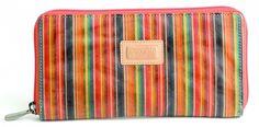 Golunski Ladies Striped Leather Wallet Purse In Orange 2067