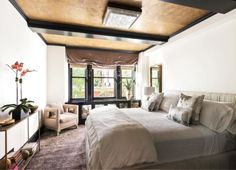 Cameron Diaz's Kelly Wearstler-designed house is for sale: The guest bedroom with custom Kelly Wearstler furniture and gold ceiling.