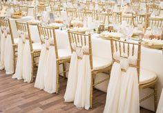 gold chiavari chairs, Santina voile chair décor