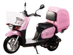 """Pinkie 50cc Scooter Limited Edition! Automatic Transmission, Front Disc/Rear Drum Brake, 12""""/10"""" Wheels, Supersized Trunk Aluminum Foot Rest, Front Basket, Metallic Paint"""