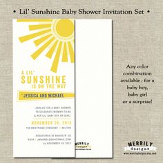 Lil' Sunshine Baby Shower Invitations Baby Boy by MERRILYDESIGNS