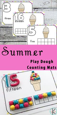 FREE Summer Playdough Counting Mats  #sensory #playdough #counting #kindergartenactivities