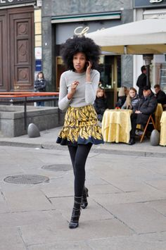 Love the hair; outfit is cute too!    calivintage:    Julia and the Banana Prada skirt, Milan | Trendycrew