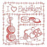Embroidery Pattern of Redwork I Love Sewing from OregonPatchWorks.com. jwt