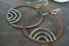 Sale-Copper-Sterling-Rustic- Dangle Hoop-Earrings-Sale-Free Shipping.. $35.00, via Etsy.