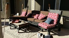 Finished pallet patio furniture